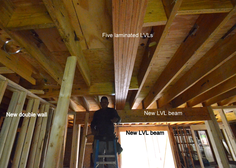 An annotated map of some of the new structure framed into the house. Consider how much new lumber is needed to correctly replace the undersized single beams that the framers have replaced.