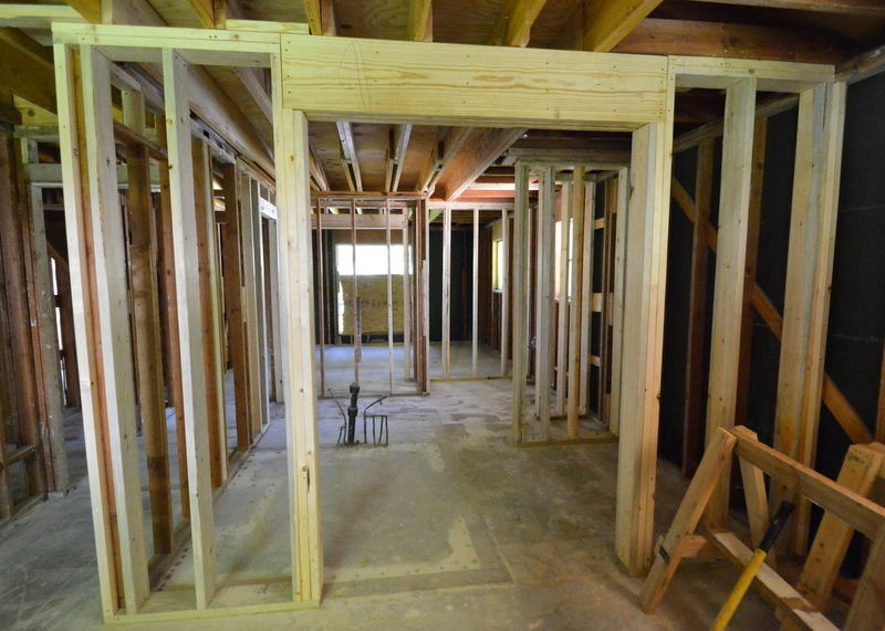 This is the framing for what will be Jadin's bathroom, which is designed as a large, open, second master bath. The shower will be placed at right, the vanities at left.