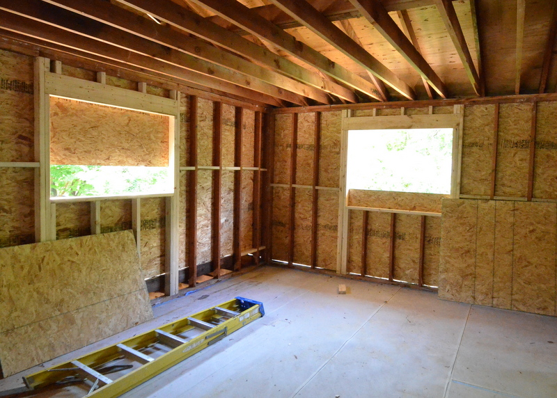 Framing for larger windows in what will be the train room -- also known as bedroom 3.
