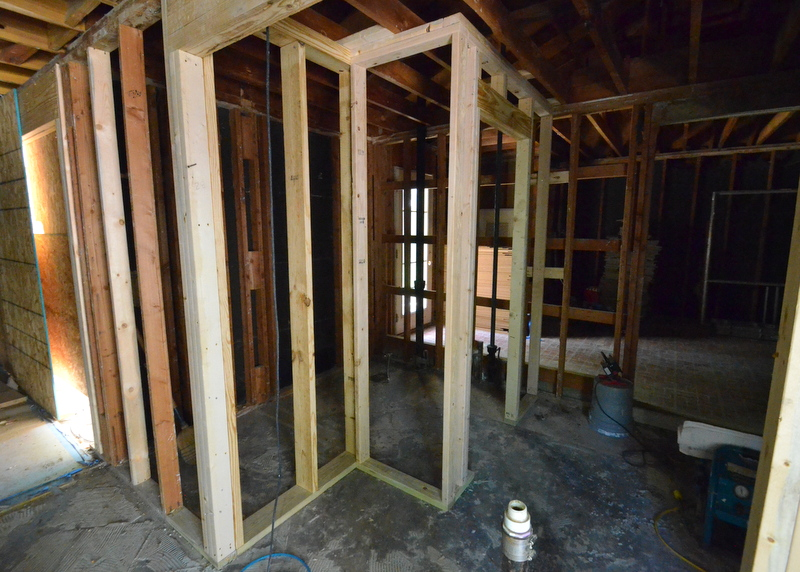 The framers are starting on the mudroom and mudroom bath.