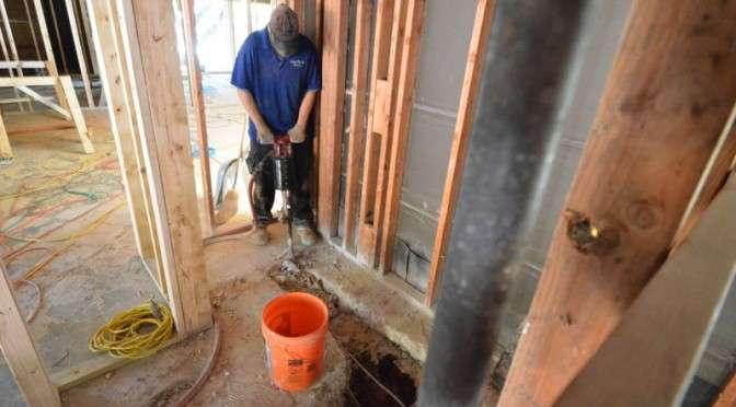 Plumbing rough-in begins