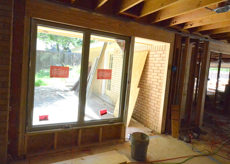 The new windows at the back of the family room.