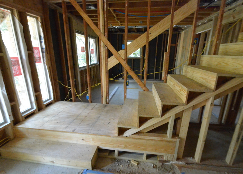 The rough framing for the new stairs is complete.