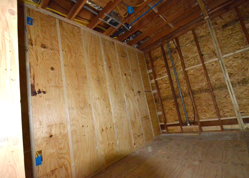 The east wall of the master closet is now blocked with plywood. Steven will now be able to easily hang the closet systems for which Jacquela is dreaming.