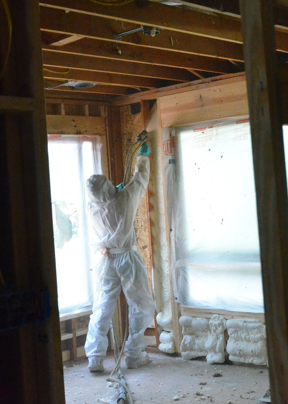 Liquid parts A and B mix just ahead of the spray nozzle. As the mix hits the wall, it's a liquid. In seconds, it begins expanding into every corner that conventional insulation would never reach.