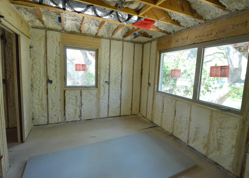 This will be Steven's office. Drywall delivered and stacked on the floor. Foam in the exterior walls.