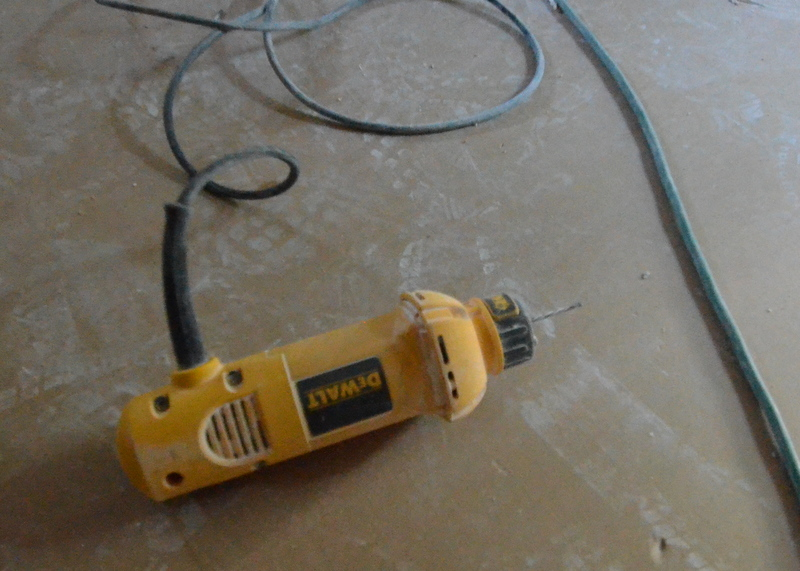 The zip rotary tool that Andre and Jose use to cut the drywall for electrical boxes, can lights, ceiling fans and other penetrations as the drywall sheets go up.