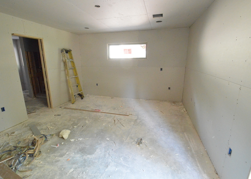 Jadin's room is also complete, covered with drywall dust.