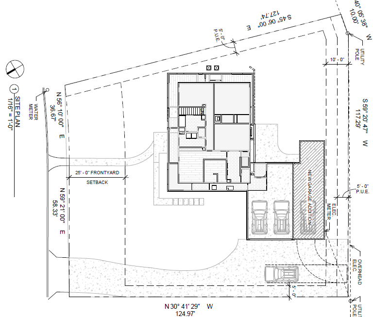 The site plan showing the house, existing garage, and the location for the projected third bay.