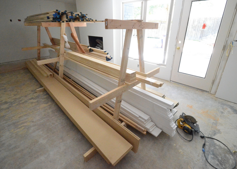 BMC built this neat rack to store baseboard, casing and other trim lumber.