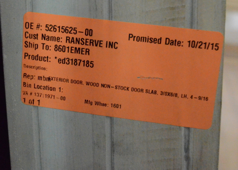 The delivery label on the door -- which will never be seen again after it is installed.