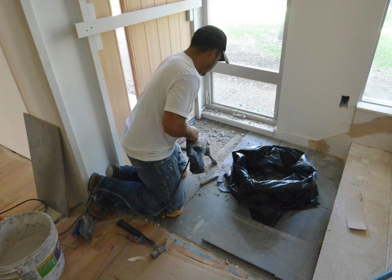 Testifying to the quality of work done by the tilesetters, it took an electric jackhammer to chip out the tile.