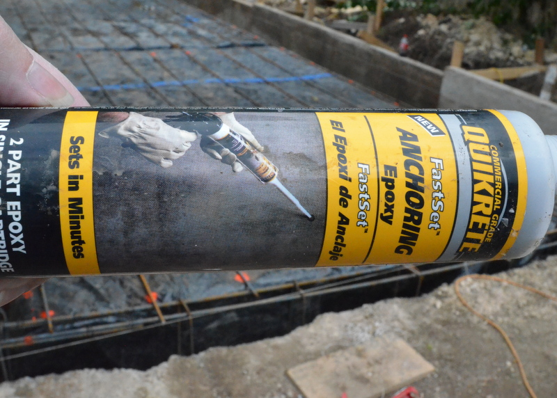 "A spent tube of the epoxy used to ""glue"" the steel rebar into the existing garage foundation."