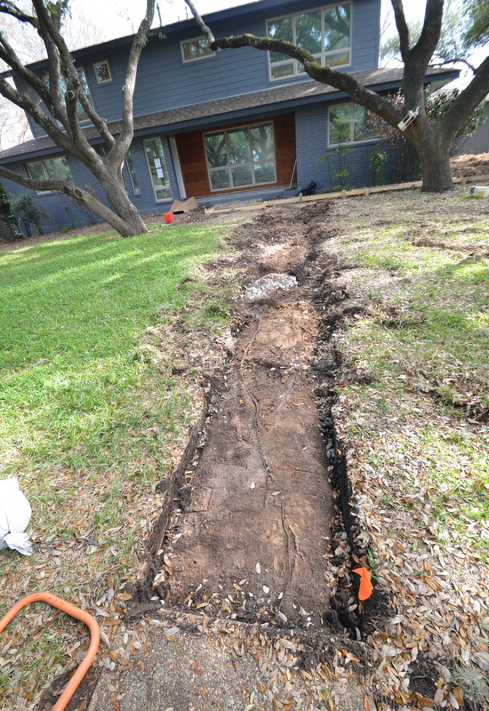 In front of the house, Gilsa used the Bobcat to rip out a long section of the front walk. We plan concrete pavers for this section. The Bobcat tore up sections of the lawn that will need to be repaired.