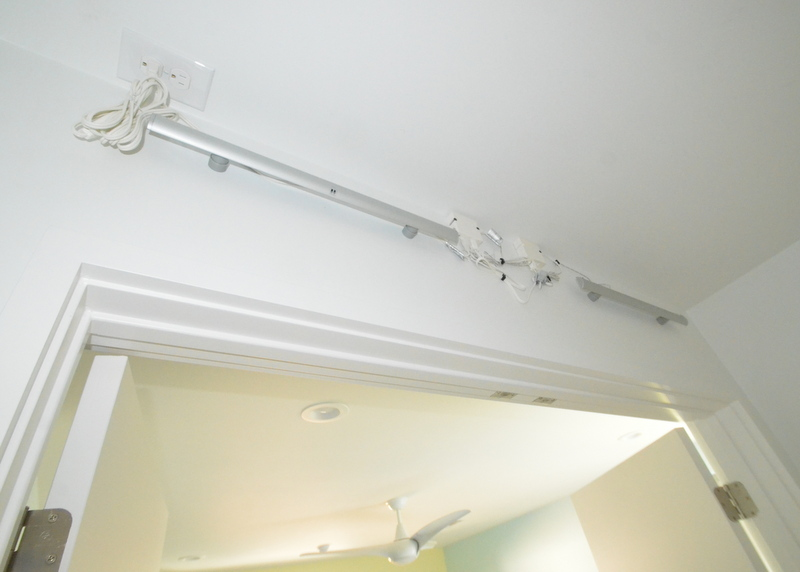 If the bathroom lights from Ikea will not work, the Striberg LED strips installed perfectly in every closet. Here's a shot from inside Jadin's closet -- two Stribergs connected with a jumper cable, plugged in at the ceiling outlet to one transformer -- per spec.