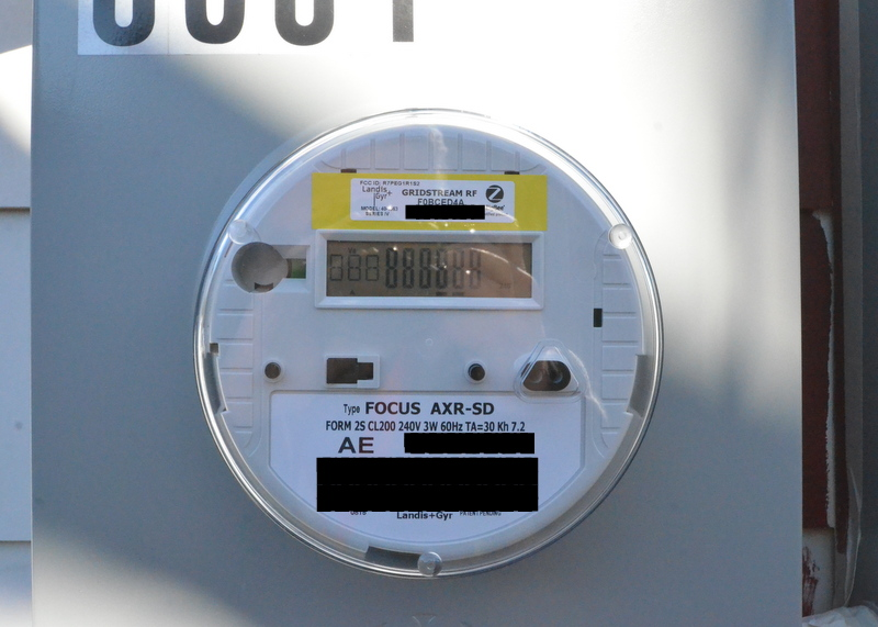 Here's the meter, installed, with bar codes obscured.