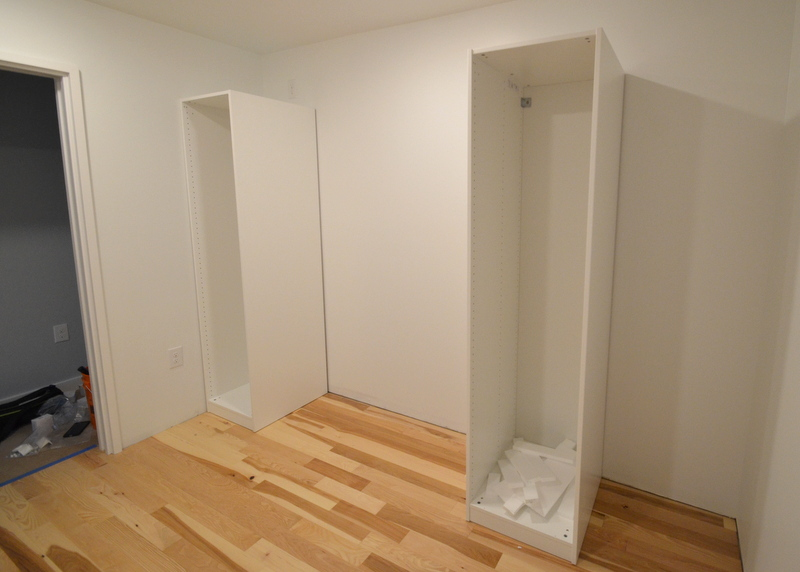 On the longer south wall, Jacquela opts for 57 inches between the two boxes. This creates a pocket behind the cabinet at right to hang clothing that will be worn less frequently.