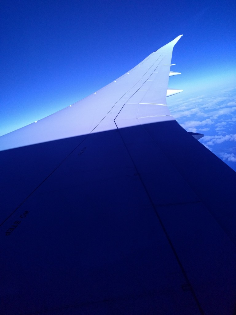 The Dreamliner wing, above the clouds, UA 047 turning into the sun, shadow traveling across the wing.