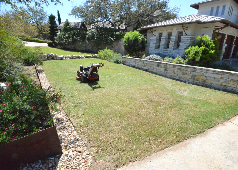 The front lawn, neat and edged.